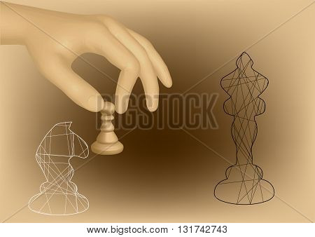 chess and hand. hand holding chess pawn