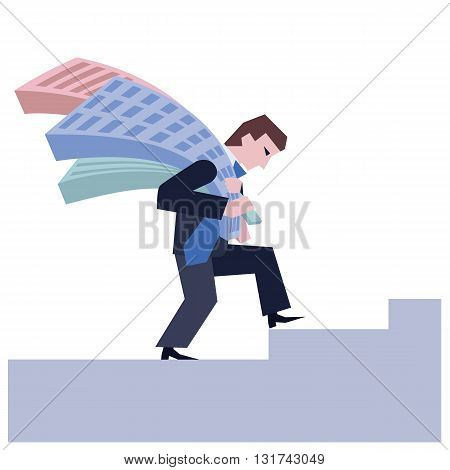 Man carrying houses. Business concept the real estate market.