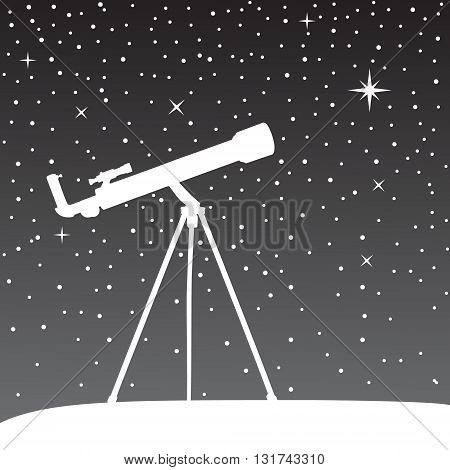Silhouette of telescope on the night sky background. Vector illustration.