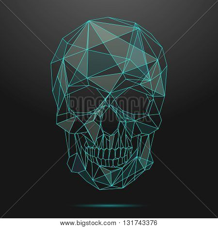 Low poly skull. Thin line skull vector. Skull linear, low poly head skull, shape geometric line skull illustration