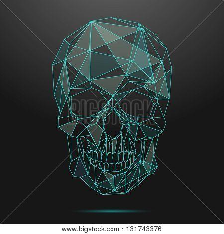 Low poly skull. Thin line skull vector. Skull linear, low poly head skull, shape geometric line skull illustration