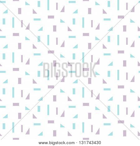 Abstract geometric shapes white seamless pattern. Vintage geometry inspired seamless lilac and blue on white.