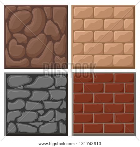 Different materials and textures for the game. Vector flat set Ground game patterns set vector stone textures collection
