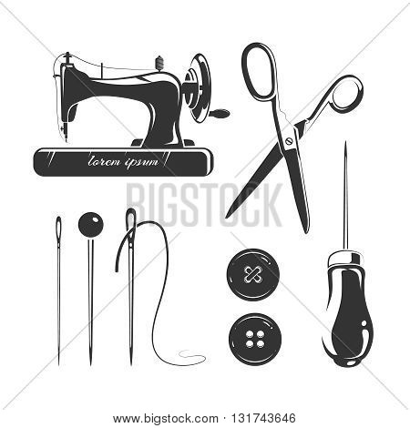 Tailor, sewing accessories vector elements for labels, emblems and logo. Needle tool, sewing craft, pin and scissor label, sewing and tailor needlework, hobby sewing, industry tailor illustration