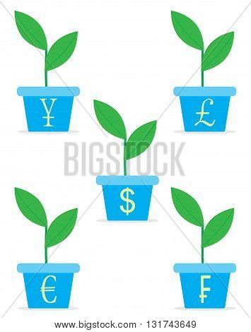 Growth income from start up set. Sprout in a pot. Profit money growth and finance sprout plant in pot. Vector flat design illustration