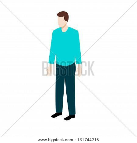 Isometric man in casual clothes vector illustration for game design and infographics