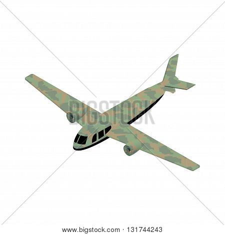 Isometric military airplane icon vector illustration for infographics and game design