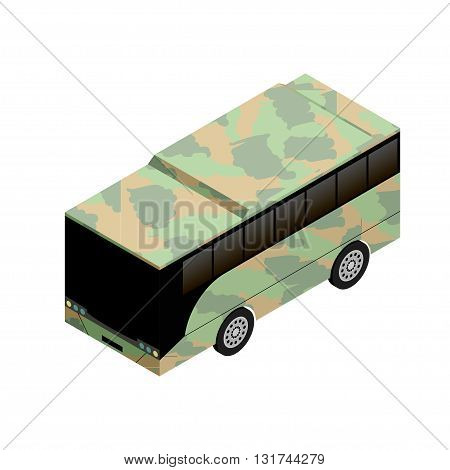 isometric military bus icon vector illustration for game design and infographics