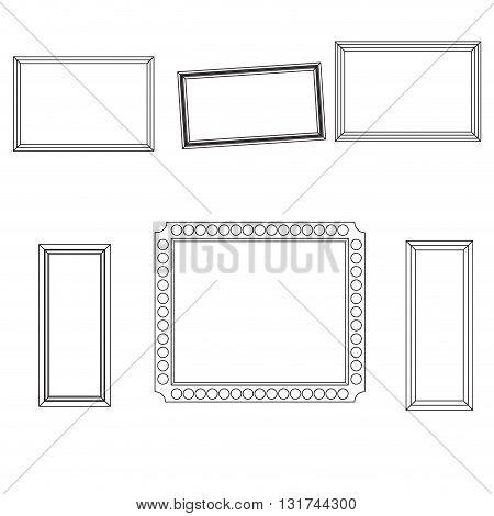 Linear frame set fo picture photo design. Frame line border and frame vector. Vintage frame or hand drawn frame. Vector illustration