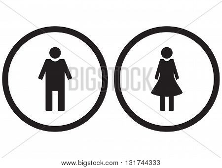 Icon set gender male and female. Restroom symbol toilet lady and gentleman vector illustration