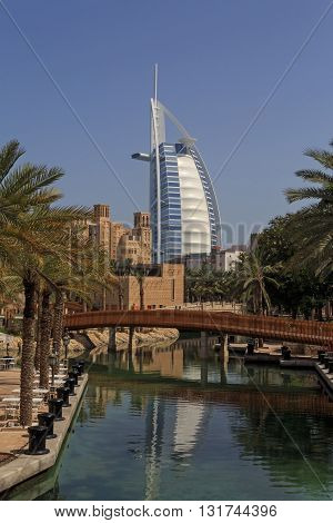 DUBAI, UAE - MAY 12, 2016:  sight of Dubai: Burj Al Arab hotel