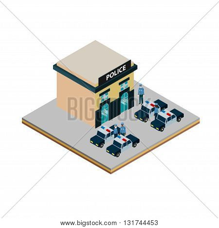 Isometric police station icon with police cars and policemen vector illustration