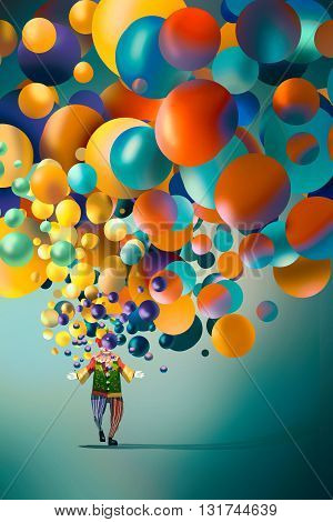funny clown with colorful balloons, illustration art