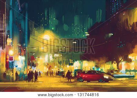 night scene of cityscape with illumination, illustration art