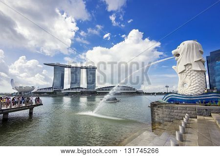 Singapore City, Singapore - June 1, 2014: View of Singapore landmark, Merlion with famous Marina Bay Sands hotel in the background.