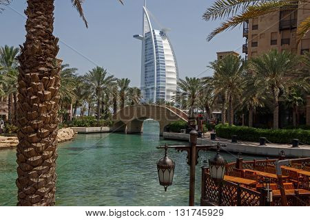 DUBAI, UAE - MAY 12, 2016:  view on Burj Al Arab from Souk Madinat Dubai