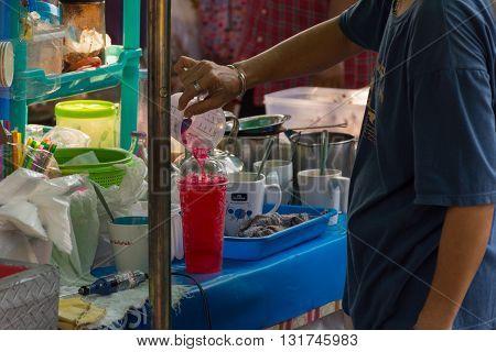 Thai Street Food, Juice And Sweet Drink