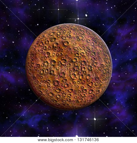 Planet Mars red against the background of the cosmos and the stars 3D illustration