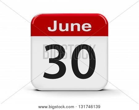 Calendar web button - The Thirtieth of June three-dimensional rendering 3D illustration