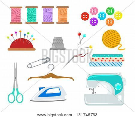 Set of objects for sewing handicraft. Sewing tools and sewing kitsewing equipment needle sewing machine sewing pin yarn.