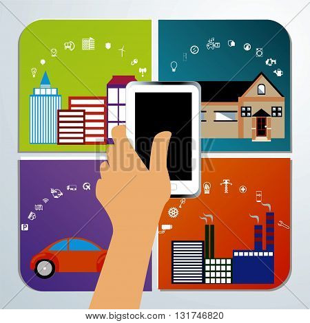 internet of things. Flat vector illustration with thin line icons. mobile in a hand. smart city, smart house, smart transport, smart industry.