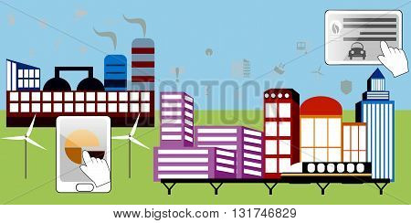 Smart city. Cityscape with different icons. Flat vector illustration. Smart industry. Flat industry. Ecology illustration