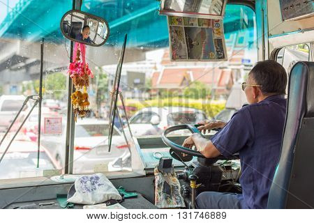 Bus Driver Drives Bus In Bangkok