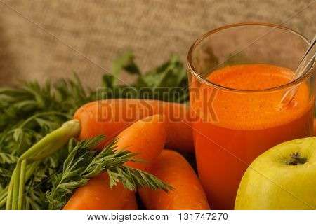 Natural organic carrot and carrot fresh juice as source of vitamin A, carotene and other vitamins