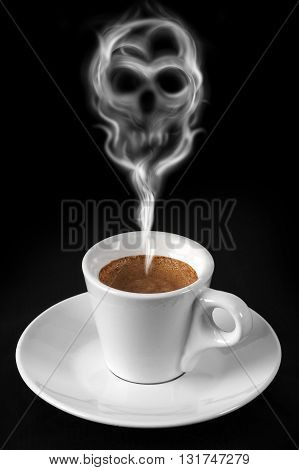 Cup of coffee with smoke drawing a skull