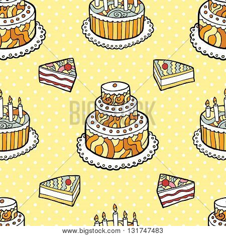 Seamless pattern with cakes on warm dotted background. Vector illustration.