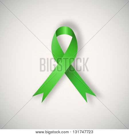Vector Breast cancer awareness green ribbon on light background.