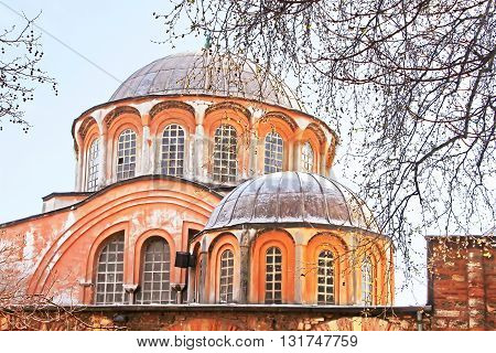 Domes of church of the Holy Savior in Chora. Second name of it now is The Kariye Museum in Istanbul, Turkey