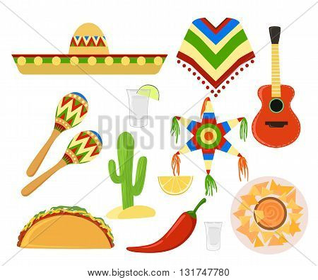 Mexico set cinco de mayo Sombrero maracas and jalapeno mexico set