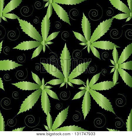 Seamless pattern from green marijuana with green swirls on the black background.  (Can be repeated and scaled in any size.)