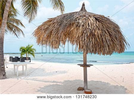 Grass umbrella at the beach on Aruba island