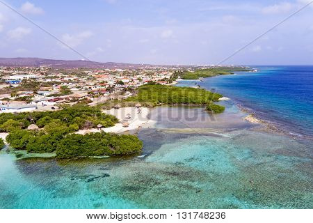 Aerial from Mangel Halto beach on Aruba island in the Caribbean Sea
