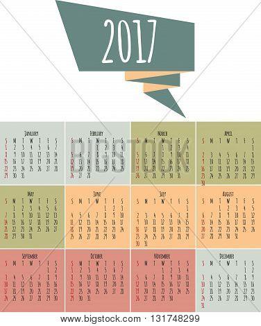 Calendar 2017. Week starts from Sunday. Vector flat design template