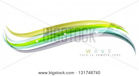 Colorful stripes wave composition, business template - geometric abstract background, swirl colorful lines