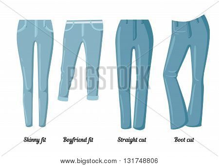 Collections of clothing six vector colorful jeans of different styles.