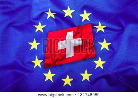 Flags of the Switzerland and the European Union. Switzerland Flag and EU Flag. Flag inside stars. World flag concept.