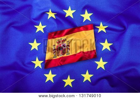 Flags of the Spain and the European Union. Spain Flag and EU Flag. Flag inside stars. World flag concept.