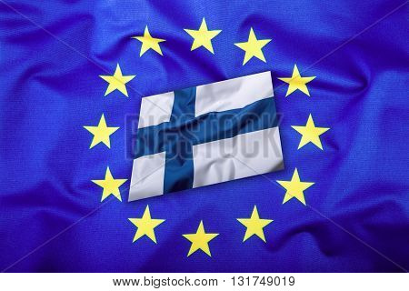 Flags of the finland and the European Union. Finland Flag and EU Flag. Flag inside stars. World flag concept.