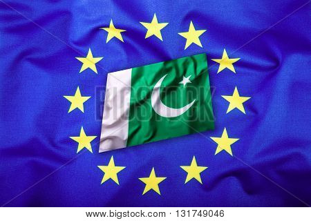 Flags of the Pakistan and the European Union. Pakistan Flag and EU Flag. Flag inside stars. World flag concept.