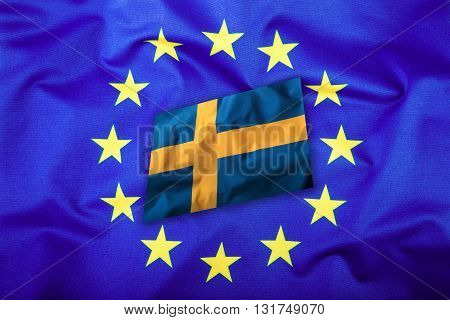 Flags of the Sweden and the European Union. Sweden Flag and EU Flag. Flag inside stars. World flag concept.