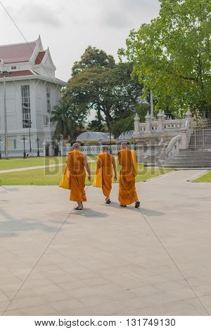 Thai Monk Walking In Temple To Worship