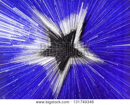 SPEED EFFECT , BLURRY STAR ON BLUE BACKGROUND