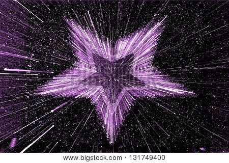 SPEED EFFECT , BLURRY PURPLE STAR ON BLACK BACKGROUND