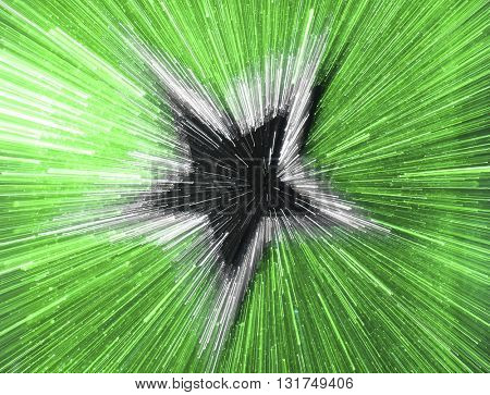 SPEED EFFECT , BLURRY STAR ON GREEN BACKGROUND