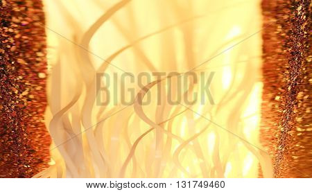 BLURRY PLANT-LIKE SHAPES , ORANGE ABSTRACT BACKGROUND