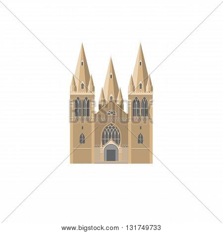 The Gothic facade of catholic Cathedral flat vector illustration. Catholic crunch icon. Gothic style religion landmark symbol.